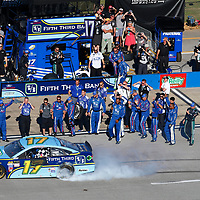 May 07, 2017 - Talladega, Alabama, USA: Ricky Stenhouse Jr. (17) takes the checkered flag and wins the GEICO 500 at Talladega Superspeedway in Talladega, Alabama.