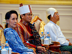 Chairperson of Myanmar's ruling National League for Democracy (NLD) Aung San Suu Kyi (L), second Vice President of the NLD U Henry Van Thio (C) and military-assigned First Vice President U Myint Swe attend the president power handover ceremony at the Presidential Palace in Nay Pyi Taw, Myanmar, March 30, 2016. Myanmar's new President U Htin Kyaw pledged on Wednesday to implement four policies based on the policies of the ruling NLD, led by Aung San Suu Kyi. EXPA Pictures © 2016, PhotoCredit: EXPA/ Photoshot/ MOI<br /> <br /> *****ATTENTION - for AUT, SLO, CRO, SRB, BIH, MAZ, SUI only*****