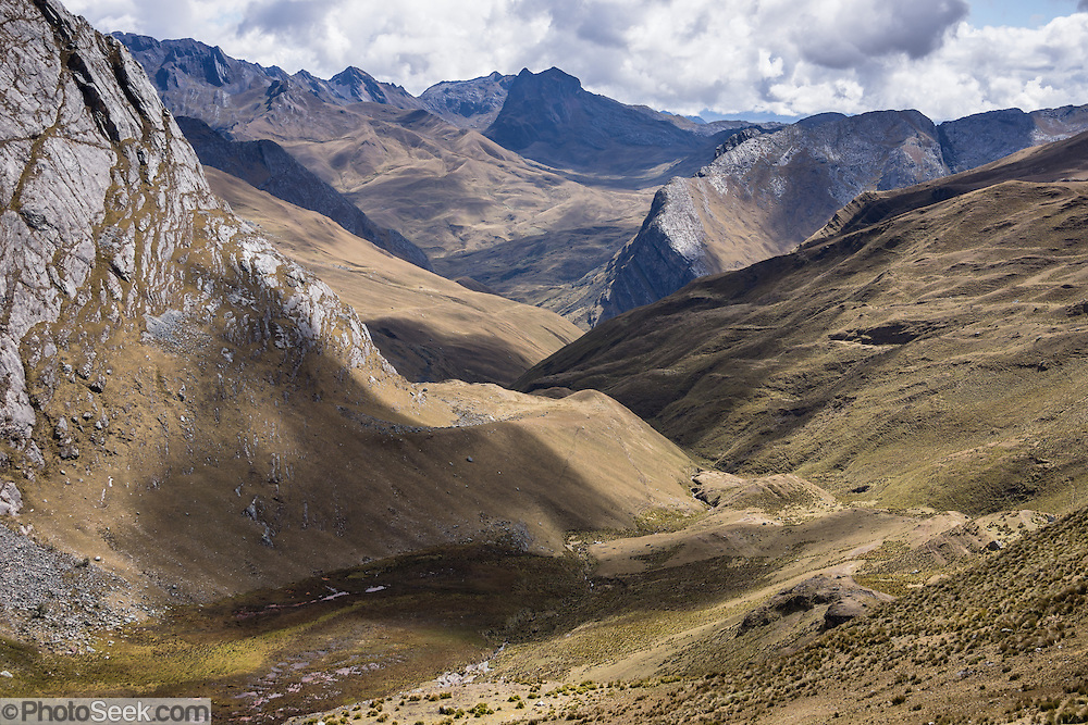 Mayobamba Valley is seen from Mesapata Pass. Day 6 of 10 days trekking around Alpamayo, in Huascaran National Park (UNESCO World Heritage Site), Cordillera Blanca, Andes Mountains, Peru, South America.