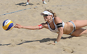 STARE JABLONKI POLAND - July 2: Nadine Zumkehr /1/ of Switzerland in action during Day 2 of the FIVB Beach Volleyball World Championships on July 2, 2013 in Stare Jablonki Poland.  (Photo by Piotr Hawalej)
