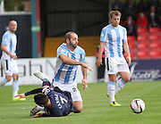 Dundee's Gary Harkins and Ross County's Joe Cardle tangle in midfield - Ross County v Dundee, SPFL Premiership at the Global Energy Stadium, Dingwall<br /> <br />  - &copy; David Young - www.davidyoungphoto.co.uk - email: davidyoungphoto@gmail.com