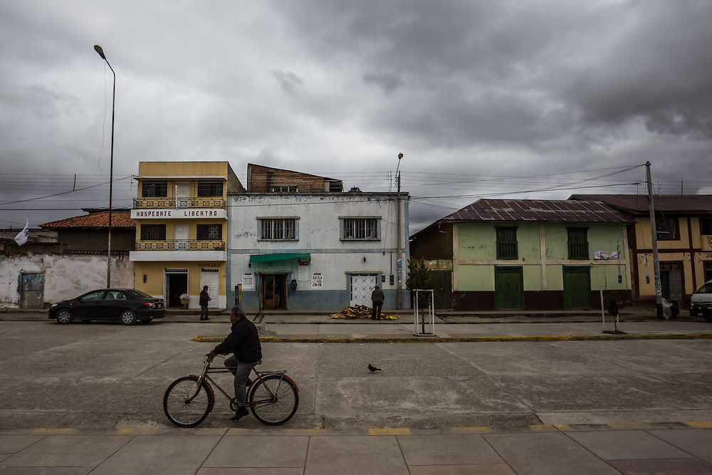 JUNÍN, PERU - OCTOBER 2, 2014:   The center of Junìn, Peru, where once-poor farmers in this dusty town on the high Peruvian pampas bounce along the unpaved streets in shiny new pick-up trucks because of soaring prices of maca, the signature crop of farmers here. Many regard maca as a nutrient-dense super food possessed of wonderous properties, including the ability to prevent cancer or reinvigorate the body. But maca's international popularity – and the sudden surge in demand from China -- may be due primarily to a widespread belief that it is a potent sex tonic capable of boosting libido or increasing fertility. Some scientific studies claim to show a link between maca consumption and an increase in libido but such beliefs go back centuries.  CREDIT: Meridith Kohut for The New York Times