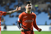 Wycombe Wanderers defender Joe Jacobson (3) takes a penalty and scores scores a goal 2-2 and celebrates during the EFL Sky Bet League 2 match between Coventry City and Wycombe Wanderers at the Ricoh Arena, Coventry, England on 22 December 2017. Photo by Alan Franklin.