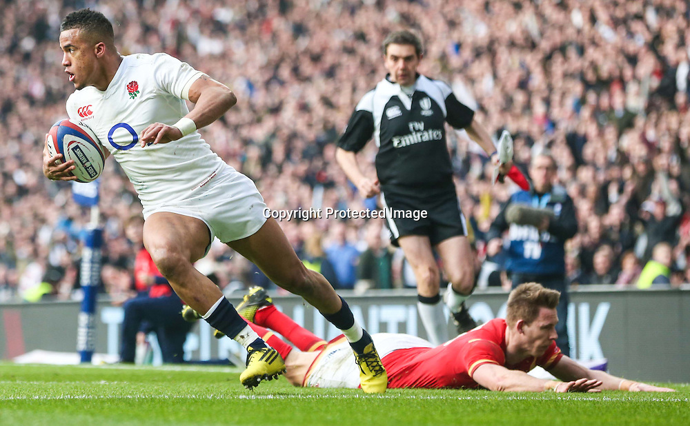 RBS 6 Nations Championship Round 4, Twickenham Stadium, London, England 12/3/2016<br /> England vs Wales<br /> England's Anthony Watson scores his side's opening try<br /> Mandatory Credit &copy;INPHO/Andrew Fosker