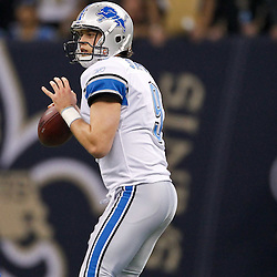 January 7, 2012; New Orleans, LA, USA; Detroit Lions quarterback Matthew Stafford (9) against the New Orleans Saints during the 2011 NFC wild card playoff game at the Mercedes-Benz Superdome. Mandatory Credit: Derick E. Hingle-US PRESSWIRE