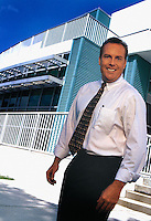 relaxed,executive portrait on location, Mike Washburn, Florida Turnpike Authority executive, photographed for annual report.