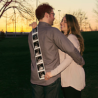 Sunset maternity portrait with ultrasounds photos on-location at Shaw Park in Clayton, MO.