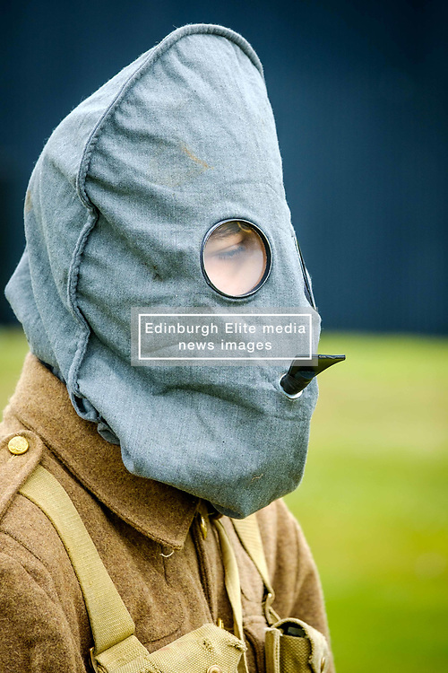 Sunday 7th May 2017 East Fortune:  Wartime Experience at the National Museum of Flight, East Fortune.  Display with gas masks by reenactors in Gordon Highlanders uniform.<br /> <br /> (c) Andrew Wilson | Edinburgh Elite media