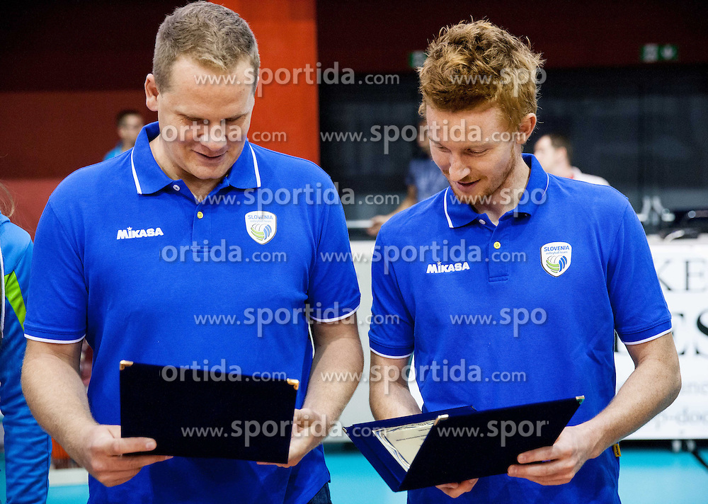 Joze Casar and Aljosa Jemec during friendly volleyball match between National teams of Slovenia and Bulgaria on August 29, 2013 in Hoce, Slovenia. Slovenia defeated Bulgaria 3-1. (Photo by Vid Ponikvar / Sportida.com)