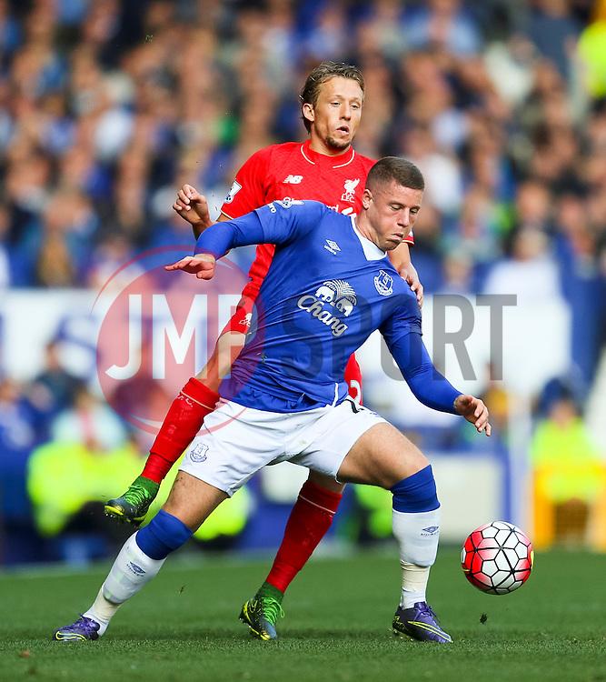 Everton's Ross Barkley and Lucas Leiva of Liverpool   - Mandatory byline: Matt McNulty/JMP - 07966 386802 - 04/10/2015 - FOOTBALL - Goodison Park - Liverpool, England - Everton  v Liverpool - Barclays Premier League