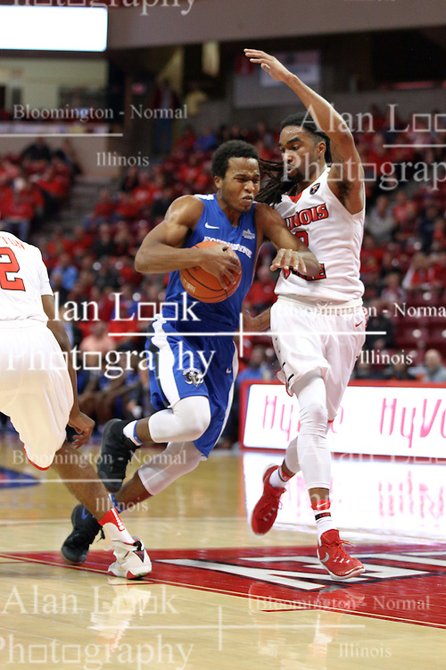 14 November 2016: Mo Evans(0) heads for the hoop guarded by Tony Wills(12) during an NCAA  mens basketball game between the Indiana Purdue Fort Wayne Mastodons the Illinois State Redbirds in Redbird Arena, Normal IL