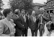 Dail Resumes After General Election.  (T3)..1989..29.06.1989..06.29.1989..29th June 1989..After the general election  members of the 26th Dáil arrived in Leinster House, Dublin to take their seats in the parliamentary chamber...Cross party support,  Dáil members from the different parties congratulate each other on their success.