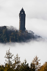 The National Wallace Monument seen through morning mist. The tower stands on the summit of Abbey Craig, a hilltop near Stirling in Scotland..Pic ©2010 Michael Schofield. All Rights Reserved.