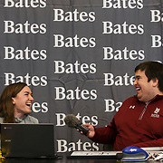 "Bates Communications Office Assistant Sports Information Director Aaron Morse reacts while interviewing Sarah Rothmann '19, of Andover, Mass., as part of the student-athlete interviews during the ""It's a Great Day to be a Bobcat livestream."