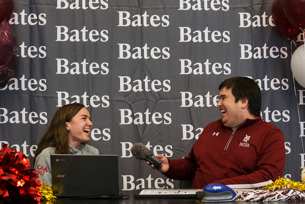 """Bates Communications Office Assistant Sports Information Director Aaron Morse reacts while interviewing Sarah Rothmann '19, of Andover, Mass., as part of the student-athlete interviews during the """"It's a Great Day to be a Bobcat livestream."""