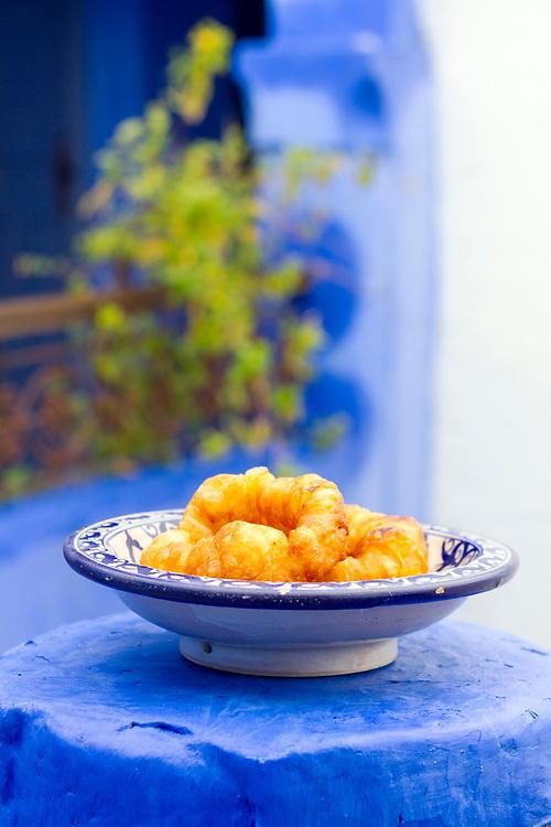 Sfenj, the  Moroccan take on a doughnut, Chefchaouen Medina - the blue city, Rif region of Northern Morocco, 2014-03-30.