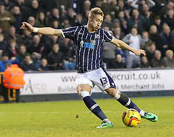 Millwall's Lee Martin comes close to making it 2-0 with this shot - Photo mandatory by-line: Robin White/JMP - Tel: Mobile: 07966 386802 18/01/2014 - SPORT - FOOTBALL - The Den - Millwall - Millwall v Ipswich Town - Sky Bet Championship