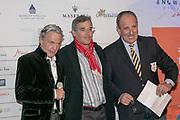 2019, Januari 24. Kulm Hotel, St Moritz. Spelerspresentatie van de Snowpolo World Cup. Op de foto: Dr Piero Dillier, Hoarcio Areco en Reto Gaudenzi