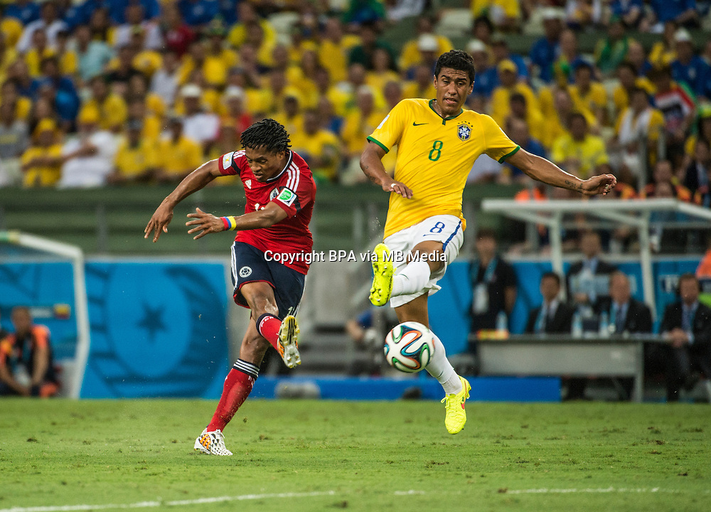 Paulinho. Brazil v Colombia, quarter-final. FIFA World Cup Brazil 2014. Castelao stadium, Fortaleza. 4 July 2014.