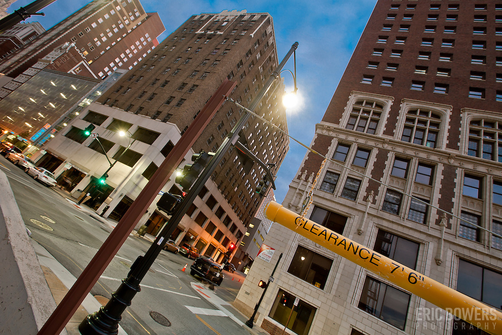 Intersection of 11th and Baltimore, downtown Kansas City, MO.