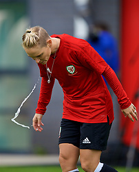 NEWPORT, WALES - Tuesday, August 28, 2018: Wales' Jessica Fishlock spits out water during a training session at Dragon Park ahead of the final FIFA Women's World Cup 2019 Qualifying Round Group 1 match against England. (Pic by David Rawcliffe/Propaganda)