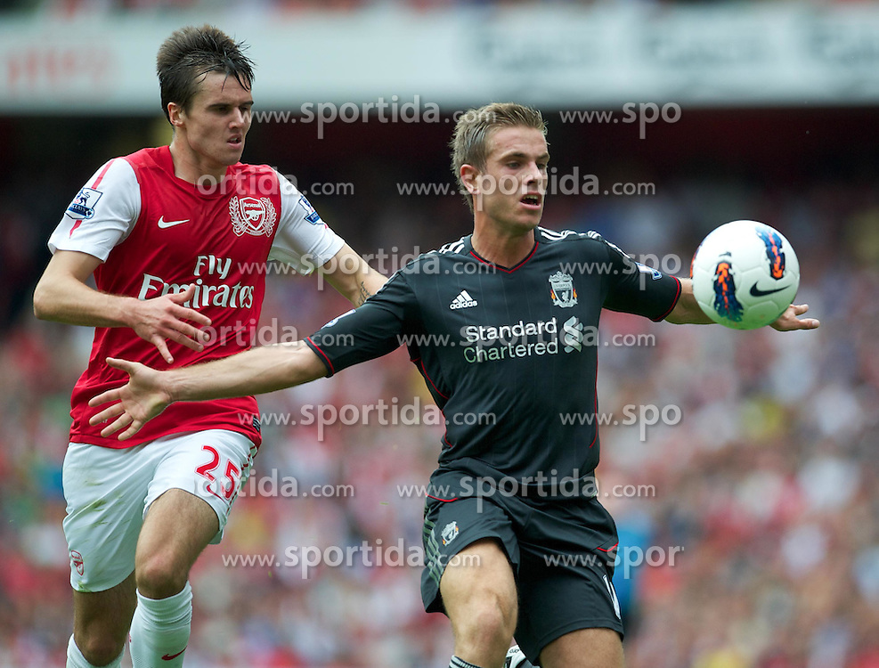 20.08.2011, Emirates Stadium, London, ENG, PL, FC Arsenal vs Liverpool FC, im Bild Liverpool's Jordan Henderson in action against Arsenal's Carl Jenkinson during the Premiership match at the Emirates Stadium, EXPA Pictures © 2011, PhotoCredit: EXPA/ Propaganda/ D. Rawcliffe *** ATTENTION *** UK OUT!
