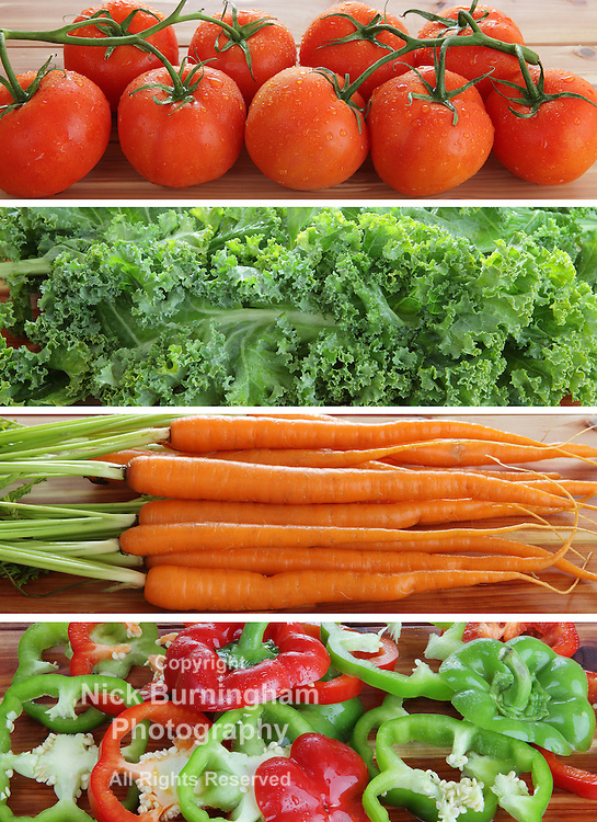 High resolution strips of organic fresh tomatoes, kale, carrots and red and green peppers
