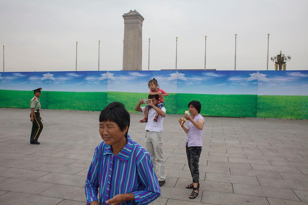 People walking at Tian'anmen square in Beijing, China