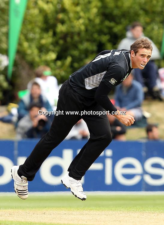 Tim Southee in action for the Black Caps.<br /> New Zealand v Zimbabwe, 1st ODI, 3 February 2012, University Oval, Dunedin, New Zealand.<br /> Photo: Rob Jefferies/PHOTOSPORT