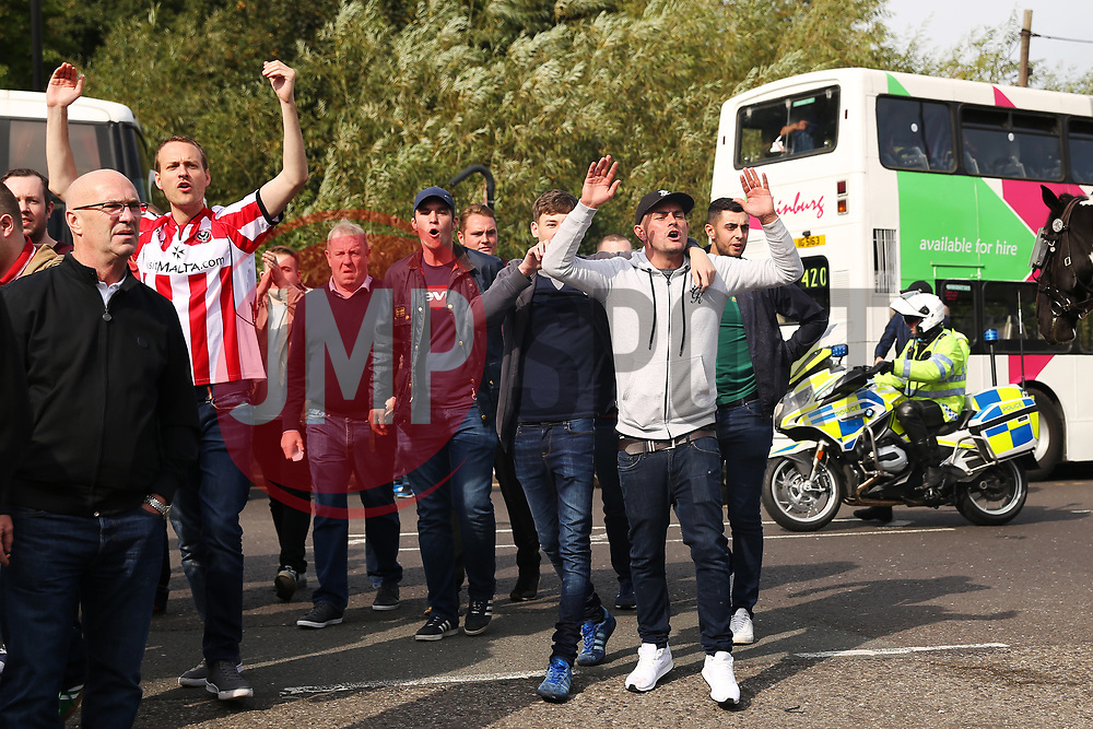 Sheffield United fans make their way to the stadium - Mandatory by-line:  Matt McNulty/JMP - 24/09/2017 - FOOTBALL - Hillsborough - Sheffield, England - Sheffield Wednesday v Sheffield United - Sky Bet Championship