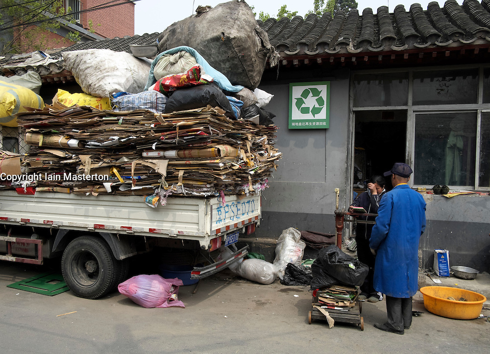 Small waste recycling center in central Beijing China
