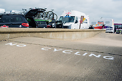 'No Cycling' - Not sure that sign applies today  for Aviva Women's Tour 2016 - Stage 1. A 138.5 km road race from Southwold to Norwich, UK on June 15th 2016.