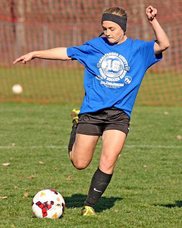 The Blue Teams Dana Jones from Maple Groves the ball up the field during soccer action at Strider Field 11-15-15 photo by Mark L. Anderson