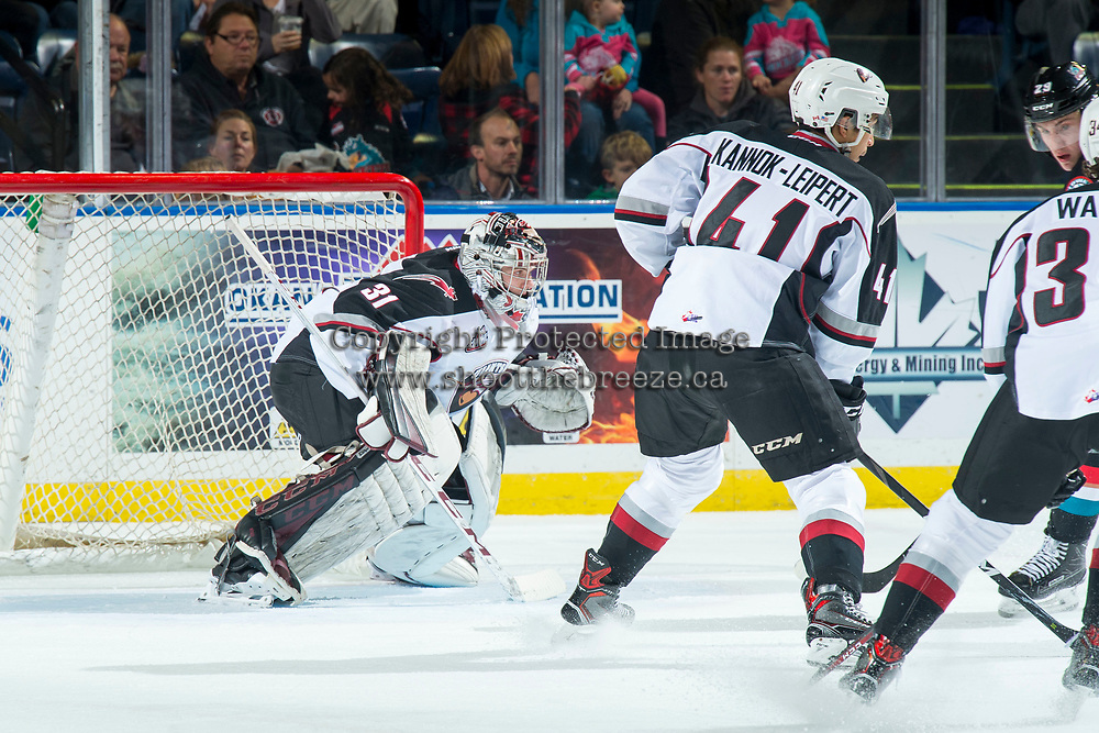 KELOWNA, CANADA - OCTOBER 3:  Trent Miner #31 of the Vancouver Giants defends the net against the Kelowna Rockets during first period on October 3, 2018 at Prospera Place in Kelowna, British Columbia, Canada.  (Photo by Marissa Baecker/Shoot the Breeze)  *** Local Caption ***