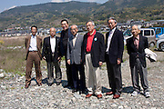 Officials pose for photographs including, Chosei Sawa, The Mayor of Minami Ashigara (in red polo shirt) and Japanese actor, Kai Ato (third from left) at The Ashigara River festival, Kintaro duck-race in Matsuda, Kanagawa, Japan April 25th 2010