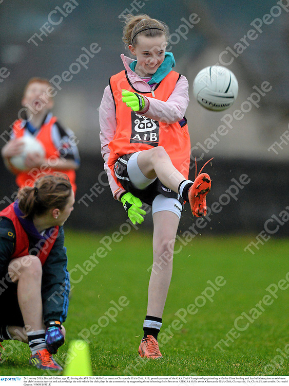 26 January 2013; Rachel Collins, age 12, during the AIB GAA Skills Day event at Clarecastle GAA Club. AIB, proud sponsors of the GAA Club Championships joined up with the Clare hurling and football champions to celebrate the club's county success and acknowledge the role which the club plays in the community by supporting them in hosting their first ever AIB GAA Skills event. Clarecastle GAA Club, Clarecastle, Co. Clare. Picture credit: Diarmuid Greene / SPORTSFILE