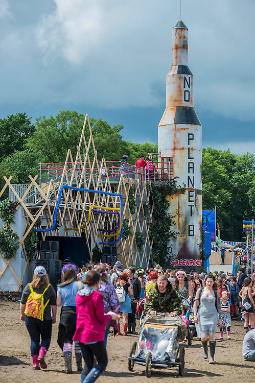 The Greenpeace area includes a rocket named No Planet B which also acts as a slide - The 2016 Glastonbury Festival, Worthy Farm, Glastonbury.