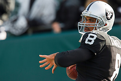 November 28, 2010; Oakland, CA, USA;  Oakland Raiders quarterback Jason Campbell (8) warms up before the game against the Miami Dolphins at Oakland-Alameda County Coliseum.