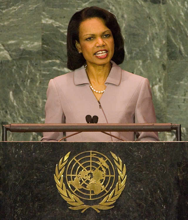 US Secretary of State Condoleezza Rice speaks during general debate of the 60th session of the General Assembly at UN headquarters in New York City Saturday 17 September 2005.