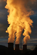 Coal fired power station emitting steam at sunset, Ironbridge Gorge, Telford, Shropshire.