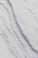 A closeup look at wave patterns the wind has sculpted in the new-fallen snow.