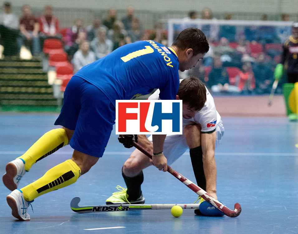 BERLIN - Indoor Hockey World Cup<br /> Kazakhstan - South Africa<br /> foto: Daulet Urmanov and Justin Domleo <br /> WORLDSPORTPICS COPYRIGHT FRANK UIJLENBROEK