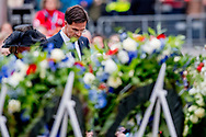 4-5-2017 AMSTERDAM - King Willem-Alexander, Queen Maxima and Prime Minister Rutte will attend the National Memorial at Dam in Amsterdam on Thursday 4 May. Wreath laying COPYRIGHT ROBIN UTRECHT<br /> <br /> 4-5-2017 AMSTERDAM - Koning Willem-Alexander,  Koningin Maxima en minister-president Rutte zijn donderdagavond 4 mei aanwezig bij de Nationale Herdenking op de Dam in Amsterdam. De Koning en Koningin zijn aanwezig tijdens de herdenkingsbijeenkomst in de Nieuwe Kerk in Amsterdam, waarin Annejet van der Zijl de 4 mei-voordracht uitspreekt. Aansluitend leggen zij een krans bij het Nationaal Monument op de Dam. De krans namens de Rijksministerraad wordt gelegd door de minister-president, minister Hennis-Plasschaert van Defensie, staatssecretaris Van Rijn van Volksgezondheid, Welzijn en Sport en de gevolmachtigd ministers Yrausquin, Eisden en Doram-York van respectievelijk Aruba, Cura&ccedil;ao en Sint Maarten. COPYRIGHT ROBIN UTRECHT