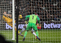 Football - 2018 / 2019 Premier League - West Ham United vs. Brighton & Hove Albion<br /> <br /> Shane Duffy (Brighton & Hove Albion) scores from a tight angle at the London Stadium<br /> <br /> COLORSPORT/DANIEL BEARHAM