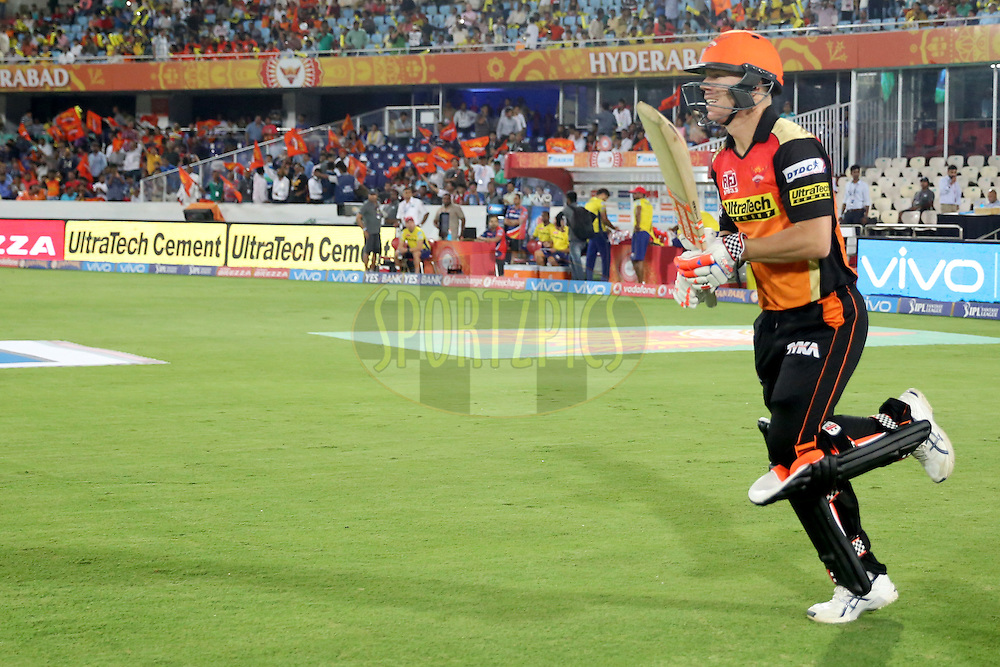 Sunrisers Hyderabad skipper David Warner during match 42 of the Vivo IPL 2016 (Indian Premier League ) between the Sunrisers Hyderabad and the Delhi Daredevils held at the Rajiv Gandhi Intl. Cricket Stadium, Hyderabad on the 12th May 2016<br /> <br /> Photo by Faheem Hussain / IPL/ SPORTZPICS