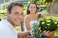 Smiling Couple in Garden