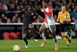 26-02-2015 NED: Europa League Feyenoord - AS Roma, Rotterdam<br /> In the photo Gervinho #27, Terence Kongolo #5