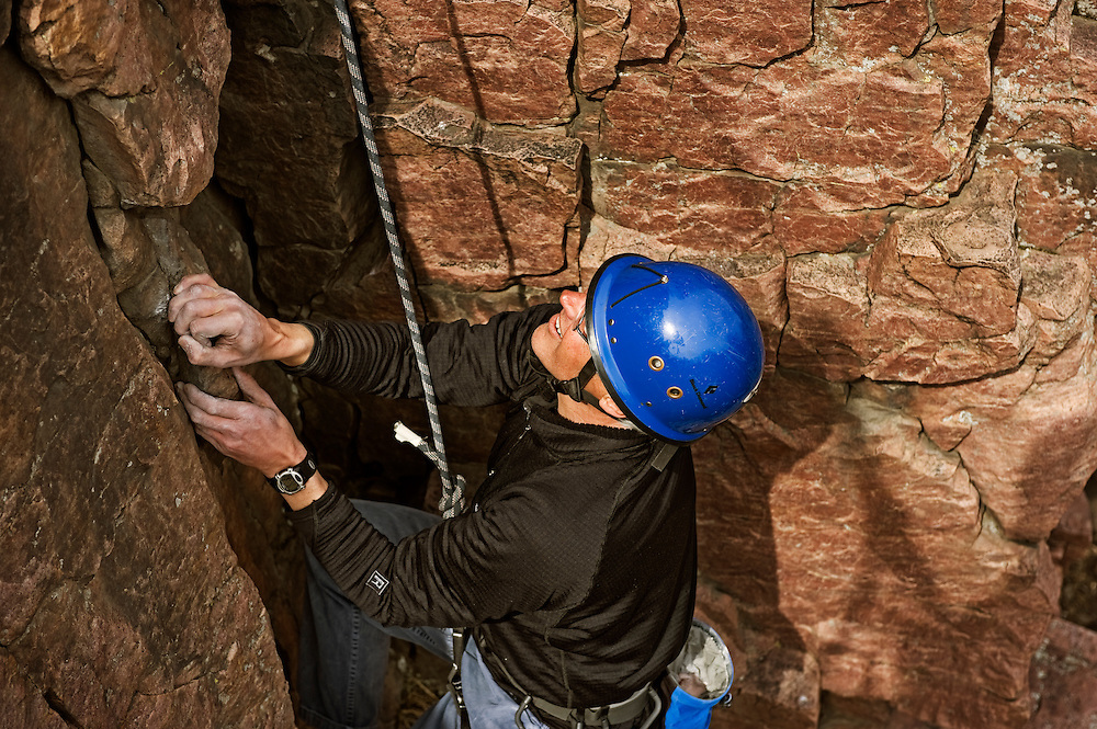 Mark Greeno, age 55, sport climbing at Palisades State Park in Eastern South Dakota on March 26, 2010..