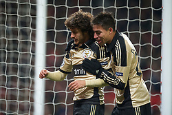 22.11.2011, Old Trafford, Manchester, ENG, UEFA CL, Gruppe C, Manchester United (ENG) vs Benfica Lissabon (POR), im Bild SL Benfica's Pablo Aimar celebrates scoring the second goal against Manchester United with Nicolas Gaitan during the UEFA Champions League Group C match at Old Trafford, London, United Kingdom on 22/11/2011. EXPA Pictures © 2011, PhotoCredit: EXPA/ Sportida/ David Rawcliff..***** ATTENTION - OUT OF ENG, GBR, UK *****