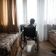 Kirill, a child battling cancer in his room at Dacha House in the outskirt of Kiev (Ukraine). Ongoing conflict in eastern Ukraine forced Kirill and his mother Natasha to flee their hometown, Horlivka.